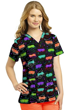 White Cross Women's V-Neck Cat Print Scrub Top
