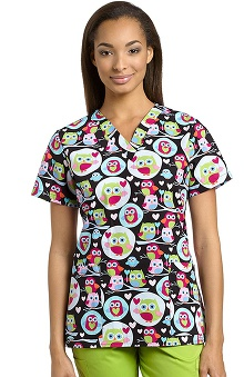 321 Scrubs By White Cross Women's V-Neck Owl Print Scrub Top