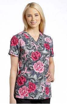 White Cross Women's V-Neck Breast Cancer Awareness Print Scrub Top