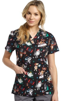 White Cross Women's V-Neck Pets Print Scrub Top