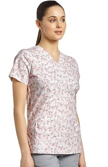 White Cross Women's V-Neck Pig Print Scrub Top