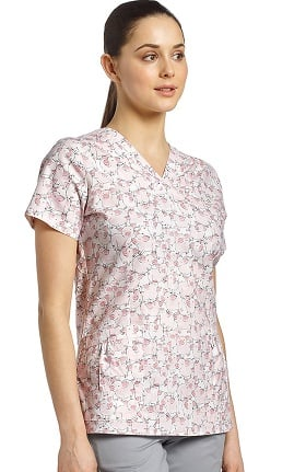 Clearance White Cross Women's V-Neck Pig Print Scrub Top