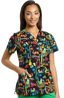 Clearance 321 Scrubs By White Cross Women's V-Neck Bird Print Scrub Top