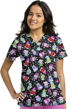 White Cross Women's V-Neck Winter Cat Print Scrub Top