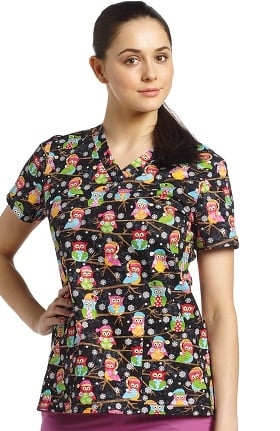 White Cross Women's V-Neck Owl Print Scrub Top