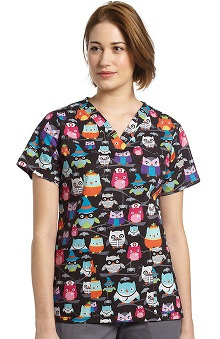 White Cross Women's V-Neck Halloween Owl Print Scrub Top