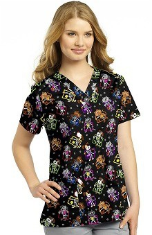 White Cross Women's V-Neck Pet Print Scrub Top