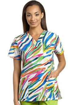 321 Scrubs By White Cross Women's V-Neck Animal Print Scrub Top