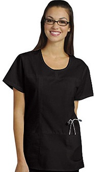 Clearance White Cross Women's Stitched Shaped Solid Scrub Top