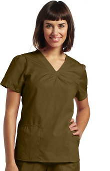 White Cross Women's Shirring V-Neck Scrub Top