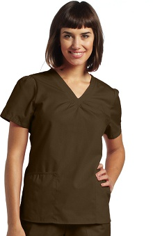 Clearance White Cross Women's Shirring V-Neck Scrub Top