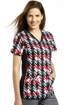 White Cross Women's Sport Knit Side Houndstooth Print Scrub Top