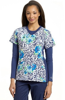 Clearance White Cross Women's Sport Knit Side Leopard Floral Print Top
