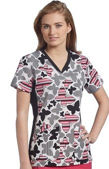 White Cross Women's Sport Knit Side Print Scrub Top