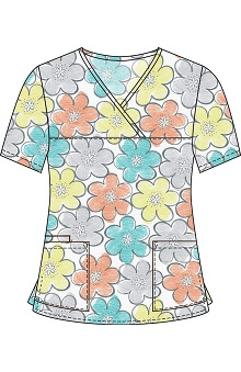 Clearance 321 Scrubs by White Cross Women's Y-Neck Floral Print Scrub Top