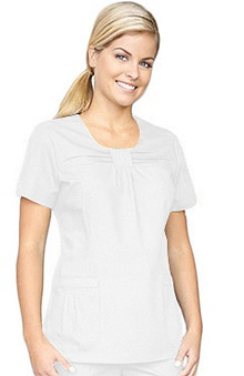 Clearance White Cross Women's Jewel Neck Pleat Solid Scrub Top