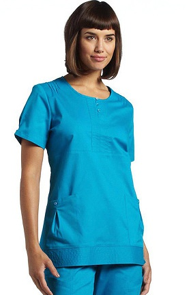 Clearance White Cross Women's Round Neck Empire Waist Solid Scrub Top