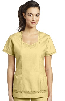 Clearance White Cross Women's Lace Trim Solid Scrub Top