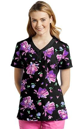 White Cross Women's V-Neck Floral Print Scrub Top