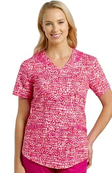 Clearance Allure by White Cross Women's V-Neck Print Scrub Top