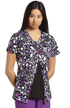 White Cross Women's V-Neck Split Front Animal Print Scrub Top
