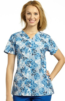 Clearance 321 Scrubs by White Cross Women's V-Neck Butterfly Print Scrub Top