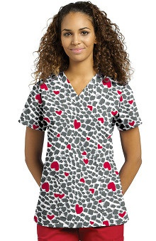 321 Scrubs by White Cross Women's V-Neck Heart Print Scrub Top