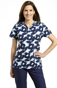 321 Scrubs by White Cross Women's V-Neck Floral Print Scrub Top
