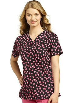 Clearance 321 Scrubs by White Cross Women's V-Neck Floral Print Scrub Top