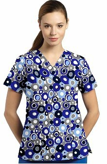 321 Scrubs by White Cross Women's V-Neck Circle Print Scrub Top