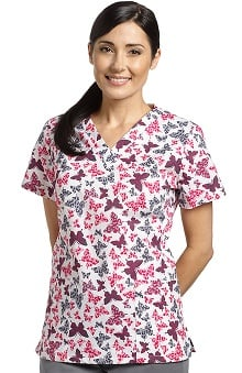 321 Scrubs By White Cross Women's V-Neck Butterfly Print Scrub Top