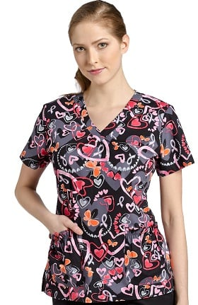 Clearance White Cross Women's Shirred V-Neck Heart Print Scrub Top