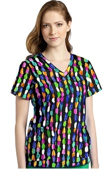Clearance White Cross Women's Shirred V-Neck Abstract Print Scrub Top