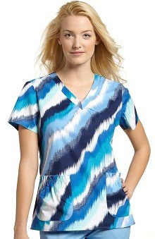 Clearance White Cross Women's Shirred V-Neck Denim Wave Print Top