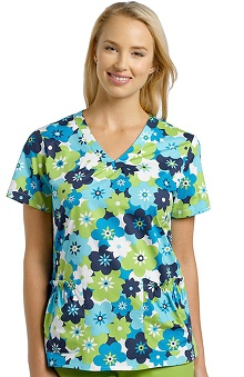 Clearance White Cross Women's Shirred V-Neck Essence Print Scrub Top