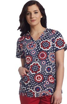 Clearance White Cross Women's Shirred V-Neck Patriotic Print Scrub Top