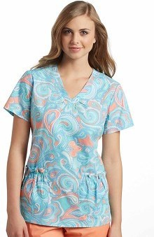 Clearance White Cross Women's Shirred V-Neck Paisley Print Scrub Top