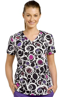 Clearance White Cross Women's Shirred V-Neck Olive Twist Print Scrub Top