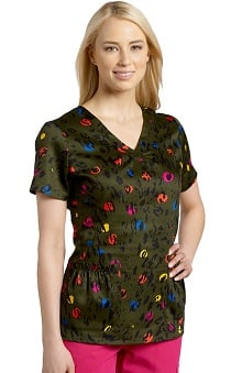 Clearance Marvella by White Cross Women's Shirred V-Neck Animal Print Scrub Top