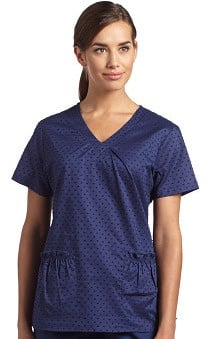 Clearance White Cross Women's Shirred V-Neck Print Solid Scrub Top