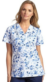 White Cross Women's Pleated Cross Over Mock Wrap Floral Print Scrub Top