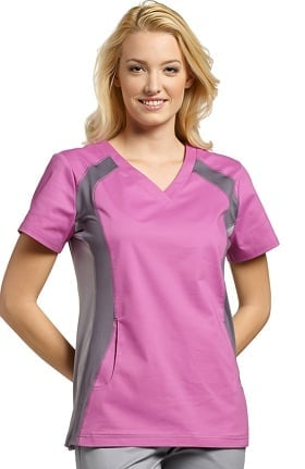 Allure by White Cross Women's V-Neck Side Panel Solid Scrub Top