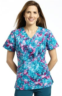 White Cross Women's Mock Wrap Abstract Print Scrub Top