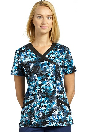 Clearance White Cross Women's Mock Wrap Floral Print Scrub Top