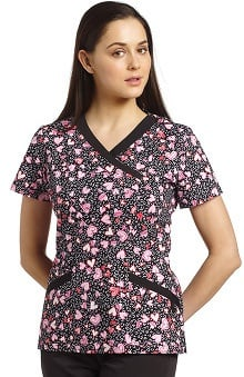 White Cross Women's Mock Wrap Heart Print Scrub Top