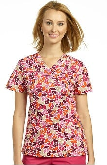 White Cross Women's Mock Wrap Leaf Print Scrub Top