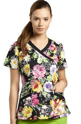 Clearance White Cross Women's Mock Wrap Floral Print Scrub Top