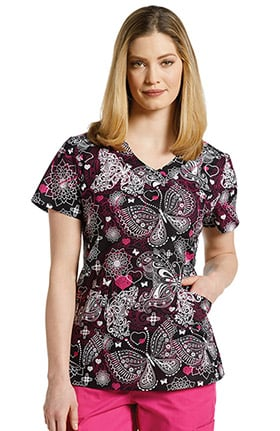 White Cross Women's V-Neck Butterfly Print Scrub Top