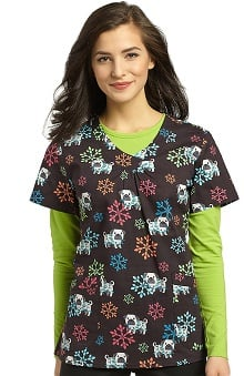 White Cross Women's V-Neck Dog Print Scrub Top