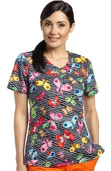 Clearance White Cross Women's V-Neck Butterfly Print Scrub Top